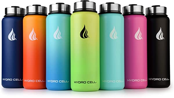 HYDRO CELL Stainless Steel Water Bottle W Straw Wide Mouth Lids 40oz 32oz 24oz 18oz Keeps Liquids Hot Or Cold With Double Wall Vacuum Insulated Sweat Proof Sport Design