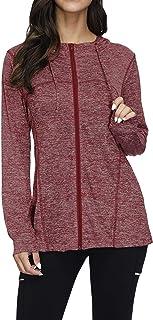 Womens Zip Up Long Sleeve Fleece Running Jacket Workout Hoodies