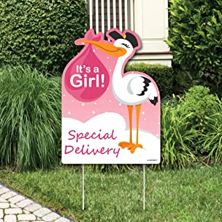 Big Dot of Happiness Girl Special Delivery - Baby Shower Decorations - Pink It's A Girl Stork Baby Announcement & Welcome Yard Sign