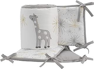 Lambs & Ivy Signature Moonbeams 4-Piece Crib Bumper - Gray, Gold, White, Animals