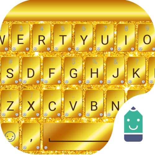 Golden Glitter Theme&Emoji Keyboard