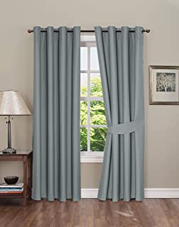 Blackout Curtain for Bedroom,Thermal Insulated Grommet Blackout Curtains, 2 Panels, Blackout Curtains with Tie-Backs, Gray, 52x63 inch by Boston Linen Co.