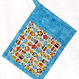 1 Pocket Pot Holder With Hanging Loop - Colorful Orange and Turquoise Owls With Turquoise Print Accent Fabric