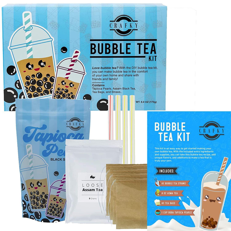 Crafky DIY Bubble Tea Kit, Complete with Boba Tapioca Pearls, Straws, and DIY Tea Bags Premium Bubble Tea Gift Set