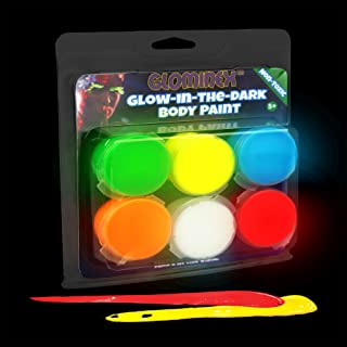 6 Pieces - 0.26oz Glow in the Dark Body Paint Clamshell Pack - Glow Make Up Paint for Paintings, Parties & Events - Assorted Color