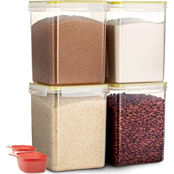 Komax Biokips Flour and Sugar Storage Containers | [Set of 4] Large Sugar and Flour Canisters (175-oz) W 2 Measuring Scooper's (1-cup) | BPA-Free | Airtight Pantry Storage Containers with Locking Lid