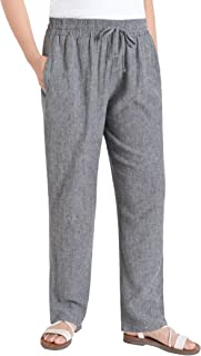 Weintee Women's Wide Leg Linen Pants with Pockets
