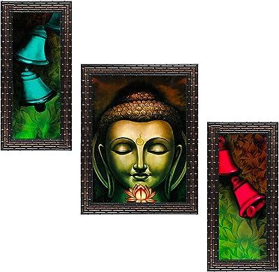 Indianara Set of 3 Gautham Buddha Framed Art Painting (3322GB) without glass 6 X 13, 10.2 X 13, 6 X 13 INCH