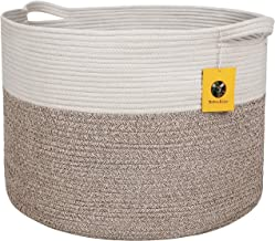 Bambiso Jumbo Cotton Rope Basket - Woven Fabric Storage Baskets with Handles for Laundry Bin, Blankets, Kids Toys, Baby Nu...