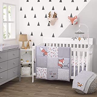 Little Love By Nojo Lil Fox, Grey, Orange, White 3Piece Nursery Crib Bedding Set With Comforter, Fitted Crib Sheet, Dust Ruffle, Orange, Grey, White, Charcoal