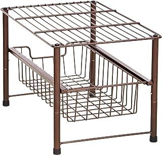AmazonBasics Stackable Sliding Basket Drawer Storage Organizer - Bronze