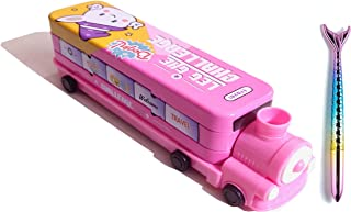 SHREE TECHNESH® Exclusive Vintage Train Shape Metal Pencil Box with 3D Fish Gel Pen for Girls (Pink)