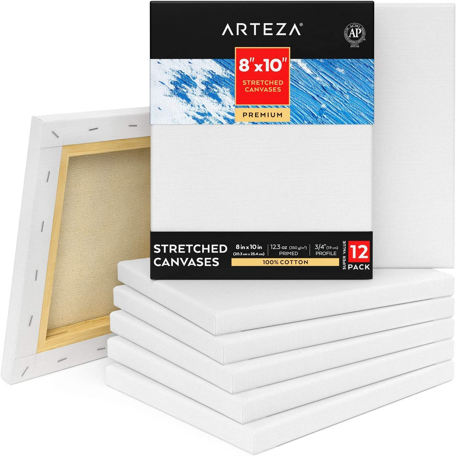 Arteza Stretched Canvas Pack Spasm price of 12 Blank Portland Mall x 10 White 8 Inches