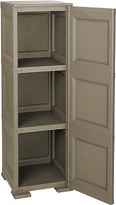 Tontarelli 8085567909 Meuble Colonne 3 Compartiments Porte Ajourée Omnimodus Plastique Chocolat