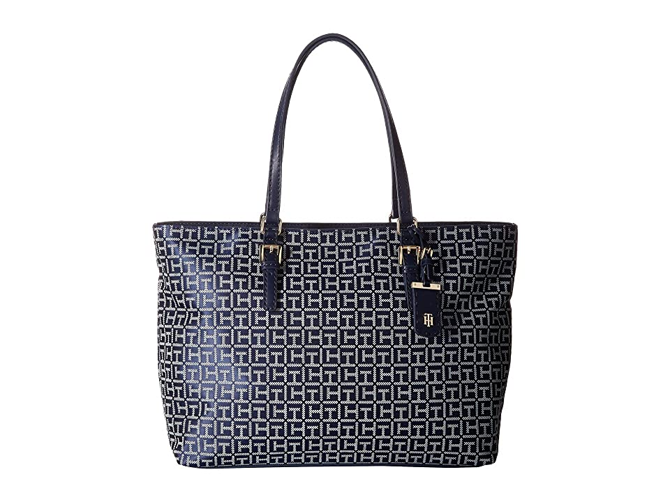 Tommy Hilfiger Julia Signature Jacquard Tote (Navy/White) Tote Handbags