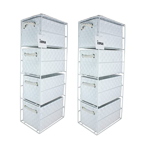 2 x 4 Drawer Storage Cabinet Unit for Bedroom/Bathroom/Home/Office (White)