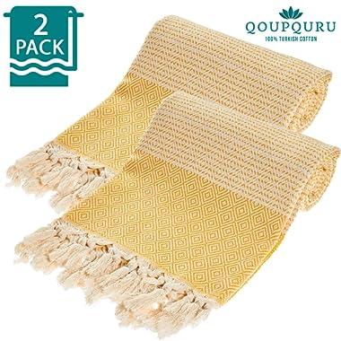 QoupQuru Turkish Beach Towels – 2 Pack Peshtemal Towel Set – 100% Turkish Cotton – Light Weight, Absorbent & Easy Dry – Oversized 40X70 Vintage Collection (Yellow)