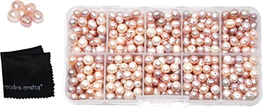 Mudra Crafts Real Freshwater Cultured Pearls for Jewelry Making, Loose Bulk Predrilled Bead Kit (6-8mm, Pink)