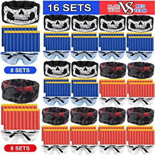 POKONBOY Party Supplies Compatible with Fortnite Nerf Guns - 16 Sets Kids Birthday Fortnite Party Favors for Blaster Gun War Party Supplies with Face Masks, Refill Darts, Tactical Glasses