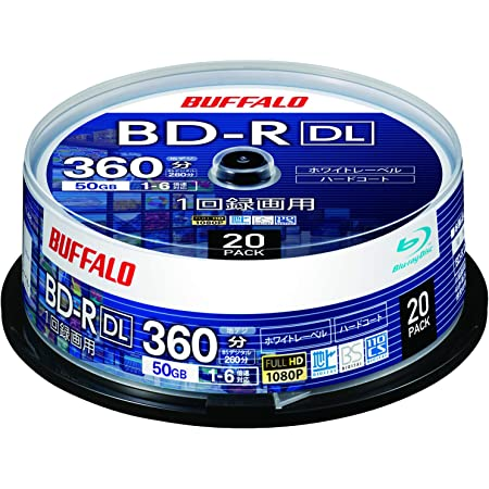 バッファロー ブルーレイディスク BD-R DL 1回録画用 50GB 20枚 スピンドル 片面2層 1-6倍速 ホワイトレーベル RO-BR50V-020PW/N