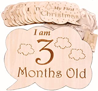 Heart'Sign 24 Designs Baby Monthly Milestone Cards | Wooden Baby Milestone Blocks | Newborn Photography Prop | Baby Registry and Baby Shower Set | Baby Nursery Decor