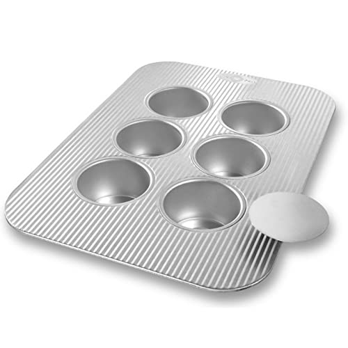 USA Pans 1285CC 6-Well Mini Cheesecake Pan with Removable Bottoms, Silver