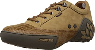 Woodland Men's Camel Leather Sneakers - 8 UK/India (42 EU)
