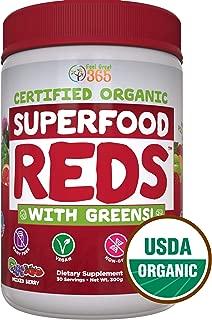 SUPERFOOD VITAL REDS & GREENS   Red & Green Veggie Superfood Powder   100% USDA Organic Non-GMO Vegan Supplement   40+ Whole Food Ingredients including Probiotics, Prebiotic Fiber & Digestive Enzymes