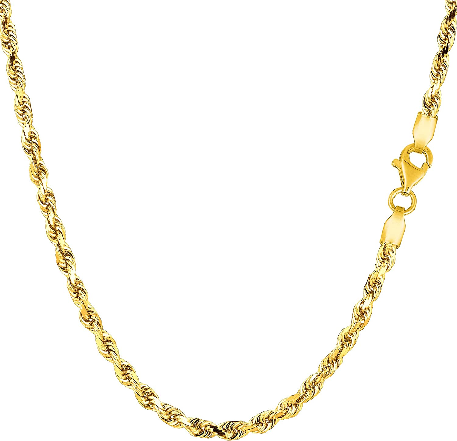 14K Yellow Gold Filled Solid Rope Chain Necklace, 3.2mm Wide