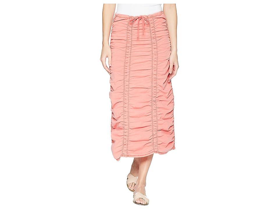 XCVI Stretch Poplin Double Shirred Panel Skirt (Tango) Women