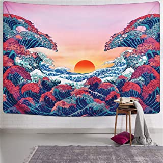 LIGICKY Nature Sunset Ocean Wave Tapestry Wall Hanging 3D Colourful Printed Japanese Art Wall Tapestries Home Decoration f...