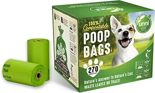 """UNNI 100% Compostable Pet Poop Bags, Dog Waste Bags, 270-Count, 18 Refill Rolls, Size:9""""x13"""",Extra Thick 0.8 Mils, Ea..."""