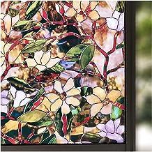 45/60/90 × 200 Cm Zonne Privacy In Lood Raam Niet-klevende Patroon Magnolia Huis Decoratief Glas Barrière-film Zonnecellen Tx (Color : Multi-colored, Size : 60 x 200 cm)