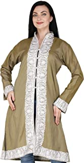 Exotic India Dried-Herb Long Kashmiri Jacket with Ari Embroidered Floral - Green