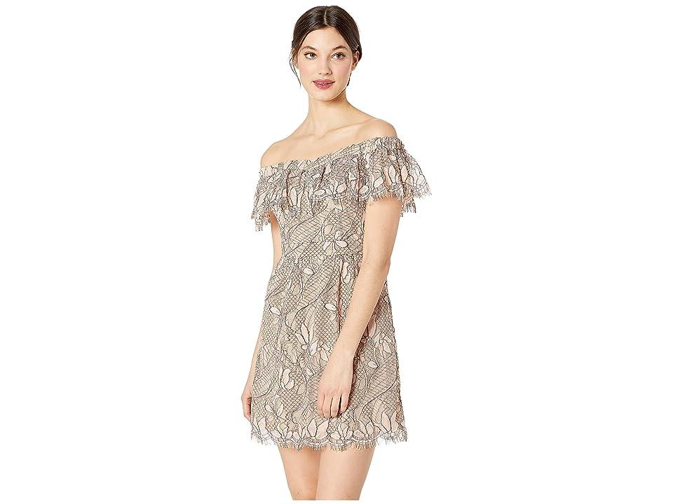 WAYF Terrace Scallop Lace Mini Dress (Blush Black Lace) Women