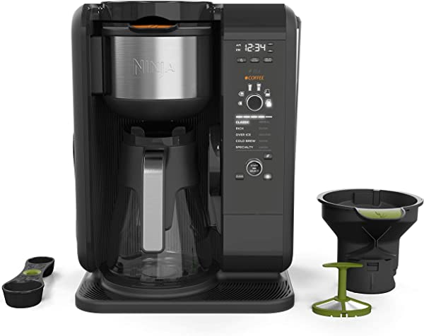 Ninja Hot And Cold Brewed System Auto IQ Tea And Coffee Maker With 6 Brew Sizes 5 Brew Styles Frother Coffee Tea Baskets With Glass Carafe CP301