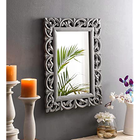 The Urban Store Wood Vintage Antique Style Home Decorative Wall Mirror, 50 X 37 1.5 cm (Grey) (TUS-MR-42)