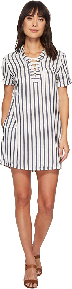 Miss Me - Lace-Up Striped Dress