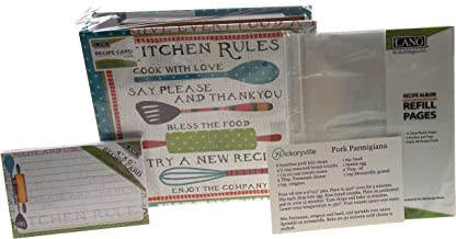 Lang Kitchen Rules Recipe Card Album Bundled with Extra Refill Pages & Recipe Cards - Artwork by Susan Winget (2 Bonus Recipes by Hickoryville)