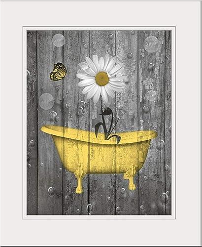 Yellow Gray Rustic Bathroom Wall Art, Daisy Flower Butterflies, Bubbles, Photo Artwork, Matted 5x7, 8x10, 11x14 Farmh...
