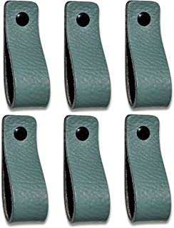 Tiradores de Cuero | Verde Pálido / 6 piezas | 16,5 x 2,5