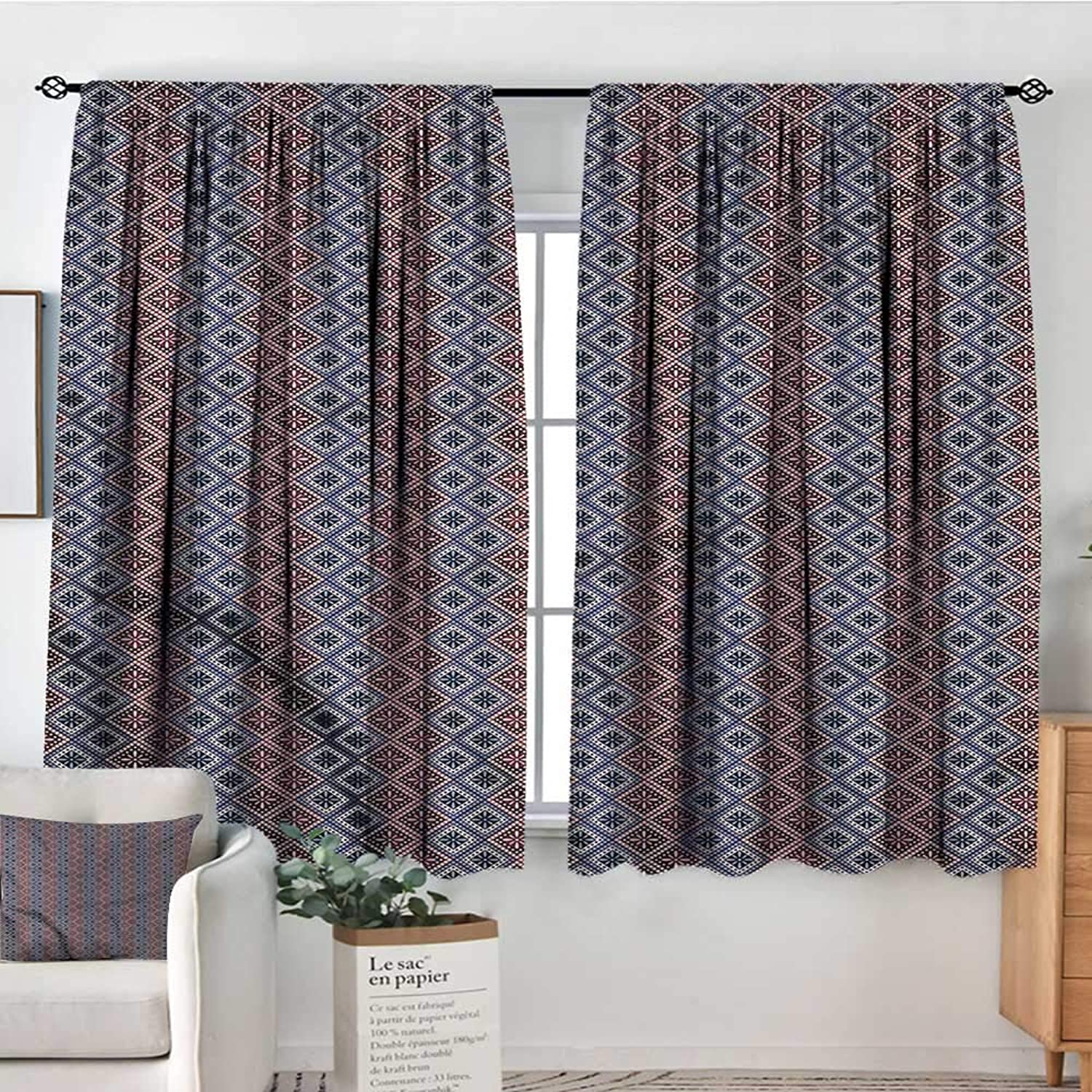 RenteriaDecor Ethnic,Backout Curtain Set Checkered Floral Dotted 42 X63  Print Curtains for Toddes Iving Room
