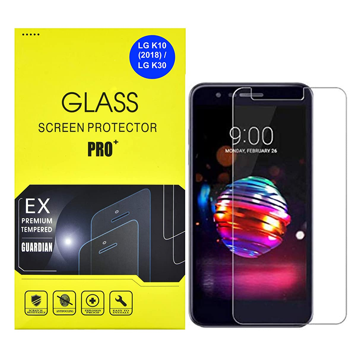 AlphaCell, Tempered Glass Screen Protector Compatible with LG K10 (2018) / K30 | Easy Install | Case Friendly | Ultra-Thin HD Clear | Scratch & Shatter Resistant [2 Pack]