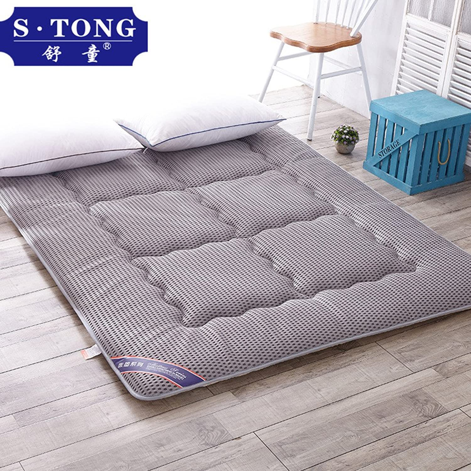 Plaid Mattress Pure color Breathable Thin Tatami Mat Cool pad Student Dorm Room Sleeping mat-J 100x195cm(39x77inch)
