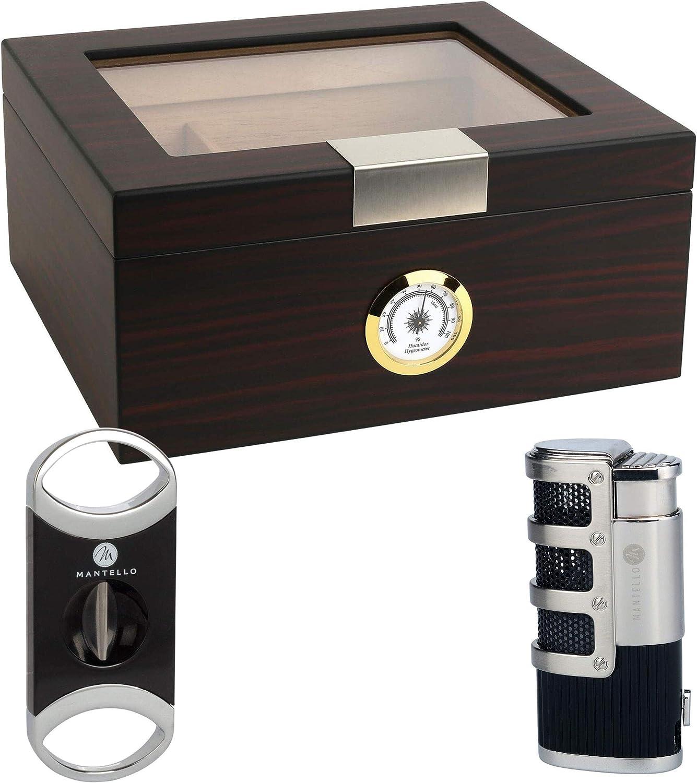 Mantello Ebony Glass -Top Cigar El Paso Mall Box - Humidifier Holds Sale Special Price Humidor