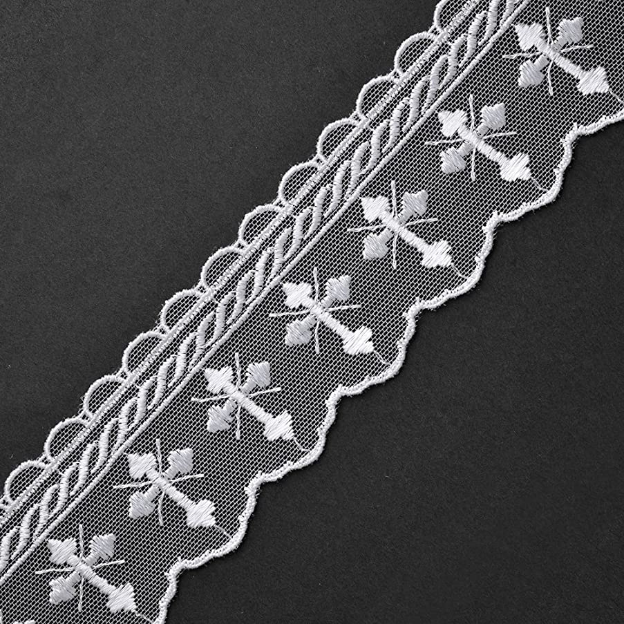3-Yards White Embroidered Tulle Cross Church lace Trim, 2-1/8 Inch, STEP-3521 (White)