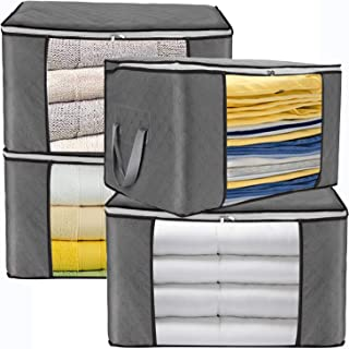 JINHODY Large Clothes Storage Bag Containers, 4 Pack Foldable Linen Storage Bags Organizer For King Comforter Blanket Bedding Pillow Quilt With Durable Zipper, Handle, Clear Window, Thick Fabric, Grey