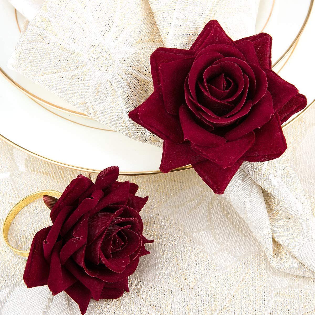 Designed with Red Rose Ornament for Romantic Wedding Party Daily Use Home Improvement Decoration SUQ I OME Set of 6 Valentines Rose Napkin Rings Set of 6,Red Rose