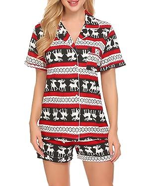 Ekouaer- Conjunto de pijama, suave, de manga corta, con botones, para mujer, ropa para dormir, tallas XS - XXL