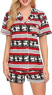 Ekouaer Pajamas Set Short Sleeve Sleepwear Womens Button Down Nightwear Soft Pj Lounge Sets XS-XXL